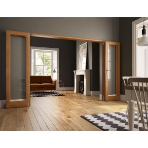 JCI Oak Veneer Unfinished Internal 4 Doors Flat Folding Room Divider - 2007mm x 2690mm