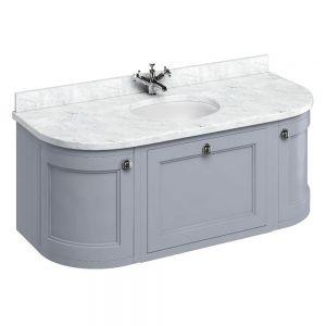 Image For Burlington Wall Hung 134 Curved Classic Grey Vanity Unit & Basin - Carrara White Worktop