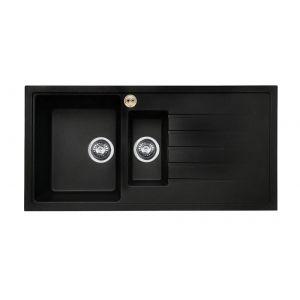 Bristan Gallery Quartz Easyfit Sink - 1.5 Bowl Kitchen Sink Right Drainer - Black