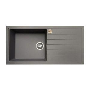Bristan Gallery Quartz Easyfit Sink - 1 Bowl Kitchen Sink Right Drainer - Dawn Grey