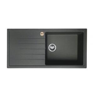 Bristan Gallery Quartz Easyfit Sink - 1 Bowl Kitchen Sink Left Drainer - Midnight Grey