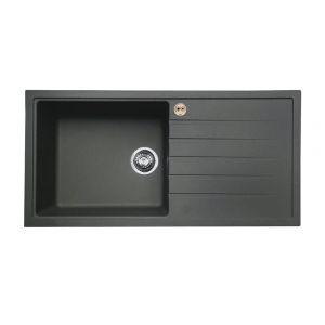 Bristan Gallery Quartz Easyfit Sink - 1 Bowl Kitchen Sink Right Drainer - Midnight Grey