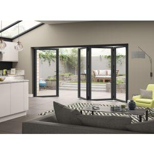 Image for JCI Grey Aluminium Pre Finished External 4 Bifold Doors Left Opening