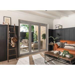 JELD-WEN Kielder Folding Sliding Patio Doorset Grey Oak Stain