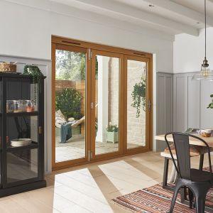 Image for JELD-WEN Golden Oak Stained Kinsley Golden Folding Patio Doorset