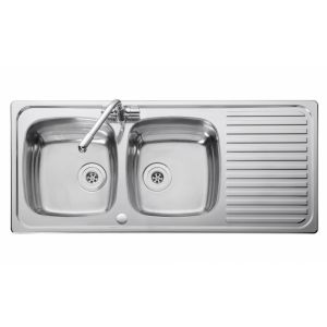 Image for Leisure Linear LR1160DB 2.0 Bowl 1TH Stainless Steel Kitchen Sink - Reversible