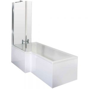 Image for Essential Kensington Complete L-Shaped Shower Bath, 1700mm x 850mm, Left Handed
