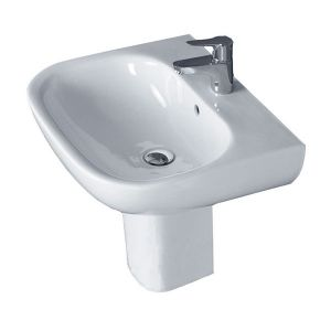 Image for Essential Lily Basin and Semi Pedestal, 550mm Wide, 1 Tap Hole