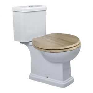 Image for Essential Iris Close Coupled Toilet, Push Button Cistern, Oak Seat