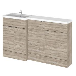Image for Hudson Reed Left Handed Combination Unit with 500mm WC Unit - 1502mm Wide - Driftwood 1 Tap Hole