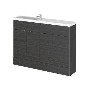 Image for Hudson Reed Compact Combination Unit with 600mm WC Unit - 1202mm Wide - Hacienda Black 1 Tap Hole
