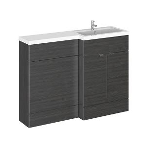 Image for Hudson Reed Right Handed Combination Unit with 600mm WC Unit - 1202mm Wide - Hacienda Black 1 Tap Hole