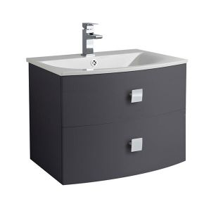 Image for Hudson Reed Sarenna Wall Hung Vanity Unit and Basin - 712mm Wide - Graphite 1 Tap Hole
