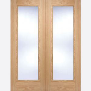 Image for LPD Pre-Finished Oak Vancouver Glazed Internal Door Pair