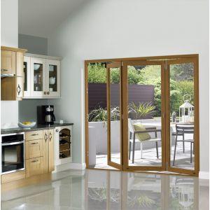 Image for JCI Oak Veneer Pre Finished External Slimline 3 Bifold Doors - 2090mm x 2690mm