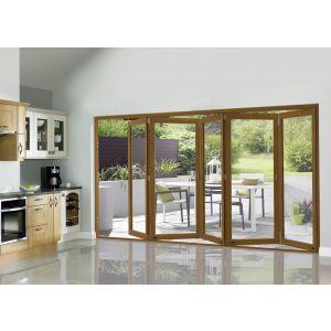 Image for JCI Oak Veneer Unfinished External Slimline 5 Bifold Doors - 2090mm x 3590mm