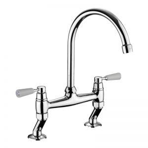 Image for Rangemaster Traditional Belfast Bridge Kitchen Sink Mixer Tap - Brushed Chrome