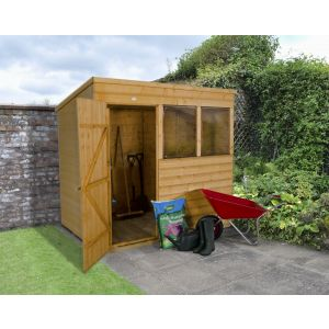 Image for Forest Shiplap Dip Treated Pent Garden Shed - 7 x 5 ft