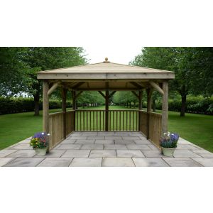 Image for Forest 3.5m Square Wooden Gazebo with Timber Roof - No Base