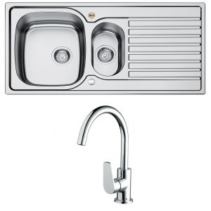Bristan Inox Easy Fit Sink - 1.5 Bowl with Raspberry Tap - Stainless Steel