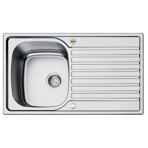 Bristan Inox 1 Bowl Kitchen Sink Universal - Stainless Steel