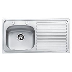 Bristan Inox 2 Tap hole Sink - 1 Bowl Kitchen Sink Right Drainer - Stainless Steel