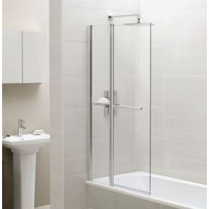 Image for April Square Fixed Panel Bath Screen with Towel Rail 1400 x 900mm