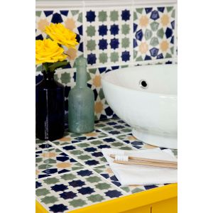 Image for V&A Omar & Mina Wall Tile Decor Blue/Green 152mm x 152mm 6 Per Pack - VA03865