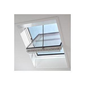 Image for VELUX GGU SD0L140 White Polyurethane Smoke Ventilation Window With Slate Flashing 134x140 UK08