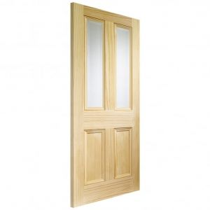 Image for XL Joinery Edwardian 4 Panel Internal Vertical Grain Clear Pine Door with Clear Bevelled Glass