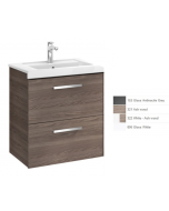 Image for Roca Prisma 2-Drawers Right Handed Vanity Unit With Basin, 590Mm X 460Mm, Textured Ash