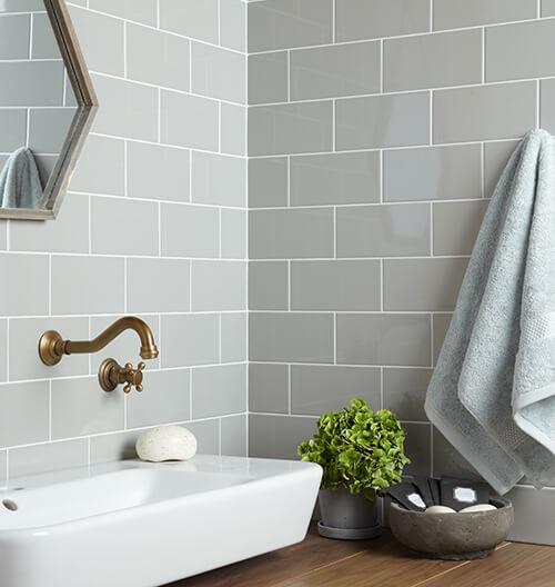 Verona Central Gloss Light Grey Ceramic Wall Tile