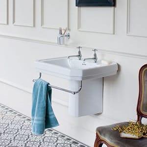 Burlington victorian basin with towel rail & semi-pedestal
